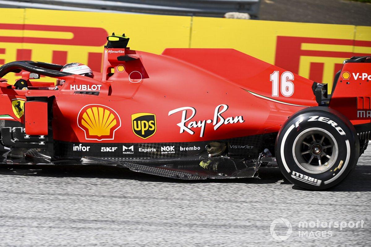 Daños en el monoplaza de Charles Leclerc, Ferrari SF1000