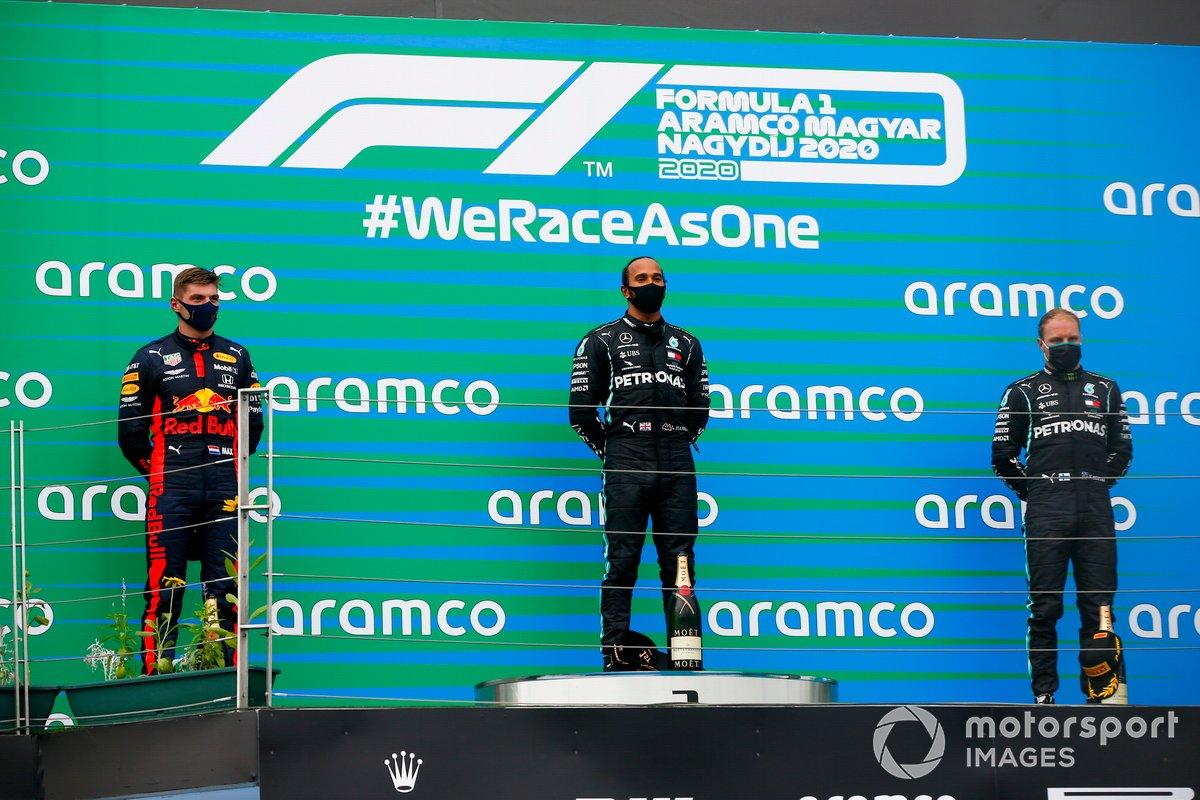 Max Verstappen, Red Bull Racing, Race winner Lewis Hamilton, Mercedes-AMG Petronas F1 and Valtteri Bottas, Mercedes-AMG Petronas F1 on the podium