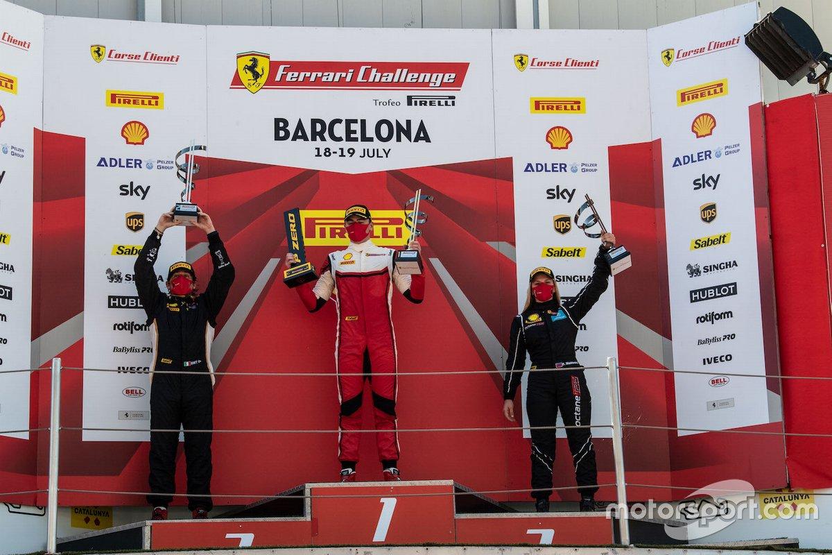 Podio: il vincitore di gara2 Thomas Neubauer, Team Charles Pozzi, secondo posto Emanuele Maria Tabacchi Rossocorsa, terzo posto Fabienne Wohlwend Octane 126