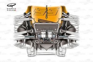 La parte anteriore del telaio della McLaren MCL35