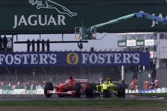 Rubens Barrichello, Ferrari F1-2000, Heinz-Harald Frentzen, Jordan EJ10 Mugen Honda