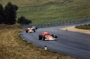 Jochen Rindt, Lotus 72C Ford leads Ignazio Giunti, Ferrari 312B and Jack Brabham, Brabham BT33 Ford