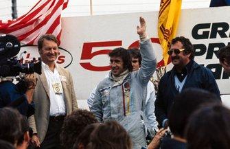 Podium: Race winner Jackie Stewart, Tyrrell