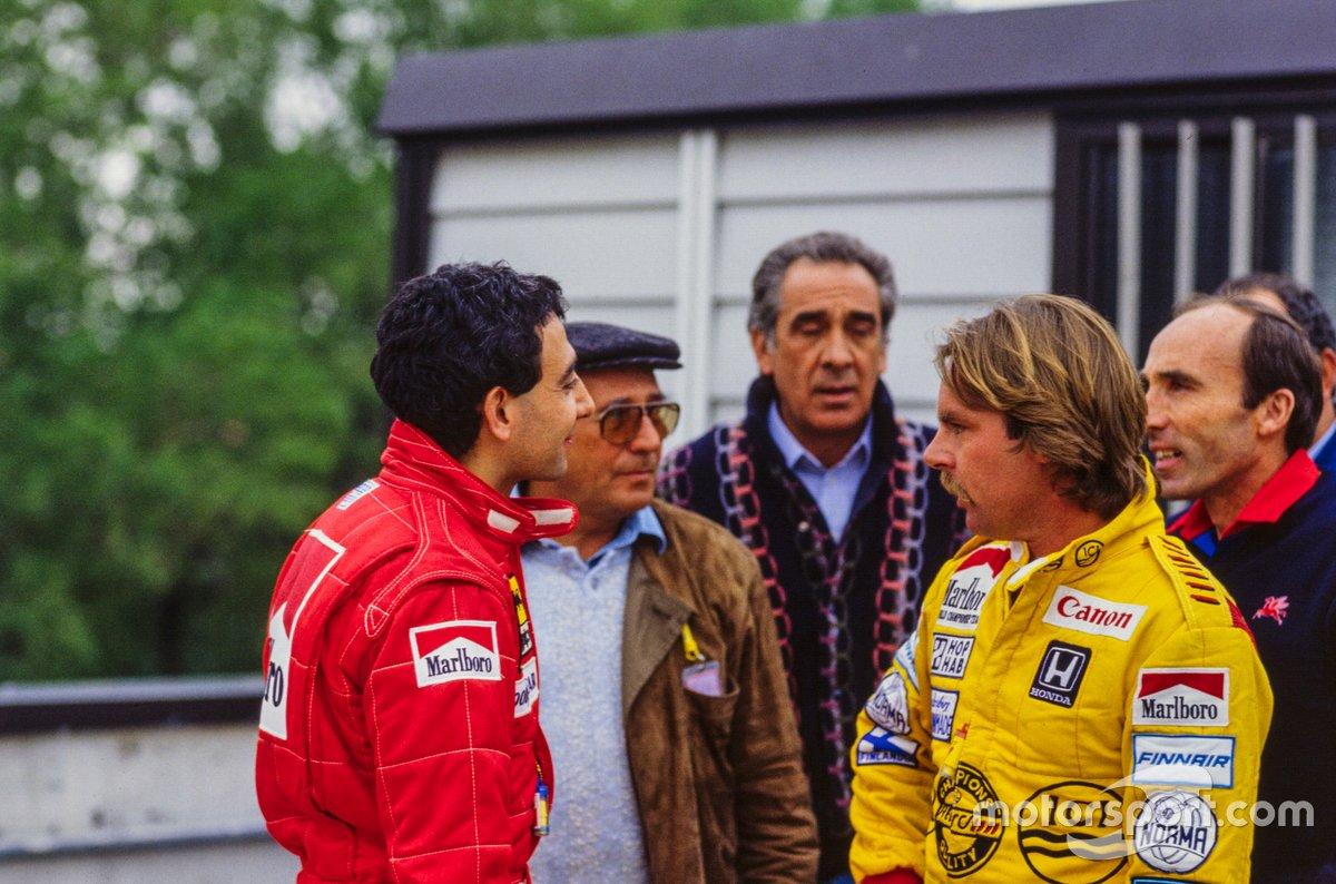 Michele Alboreto, Ferrari con Keke Rosberg, Williams y Frank Williams