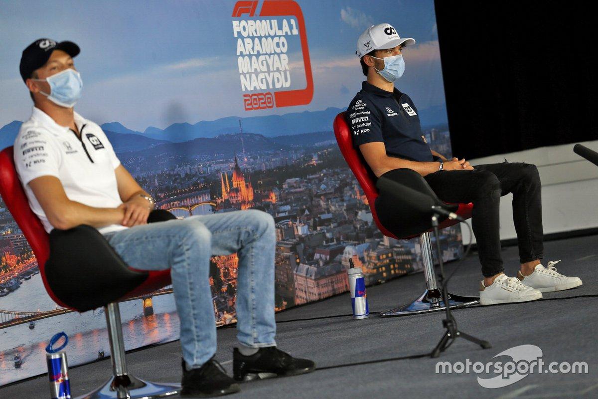 Daniil Kvyat, AlphaTauri and Pierre Gasly, AlphaTauri in the press conference