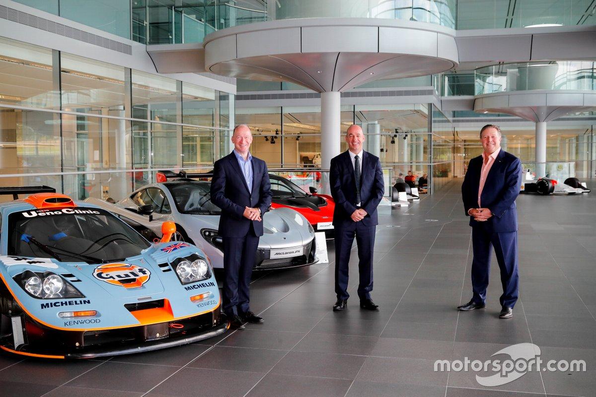 Mike Flewitt, McLaren Automotive CEO, Mike Jones, Gulf Oil International Ltd CEO, Zak Brown, McLaren Racing CEO