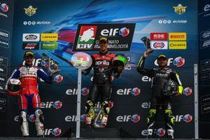 Podio: Il vincitore Lorenzo Savadori, Aprilia Nuova M2 Racing, Secondo posto, Lorenzo Gabellini, Honda del Team Althea Racing, terzo posto Alessandro Delbianco, BMW DMR Racing
