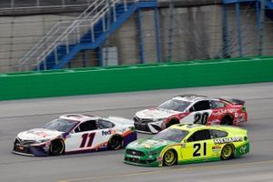 Denny Hamlin, Joe Gibbs Racing, Toyota Camry FedEx Freight, Matt DiBenedetto, Wood Brothers Racing, Ford Mustang Menards/Quaker State and Erik Jones, Joe Gibbs Racing, Toyota Camry Built In Kentucky