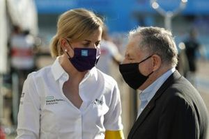 Susie Wolff, Team Principal, Venturi chats with Jean Todt, FIA President