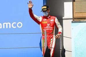 Mick Schumacher, Prema Racing celebrates on the podium