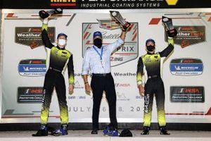 #14 AIM Vasser Sullivan Lexus RC-F GT3, GTD: Aaron Telitz, Jack Hawksworth, podium, with Jeff Bal of Lexus