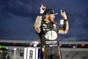 Martin Truex Jr., Joe Gibbs Racing, Toyota Camry Bass Pro celebrates his win
