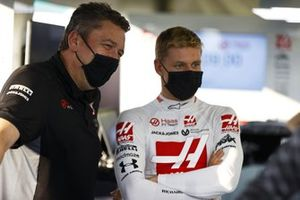 Mick Schumacher in the Haas garage with an engineer