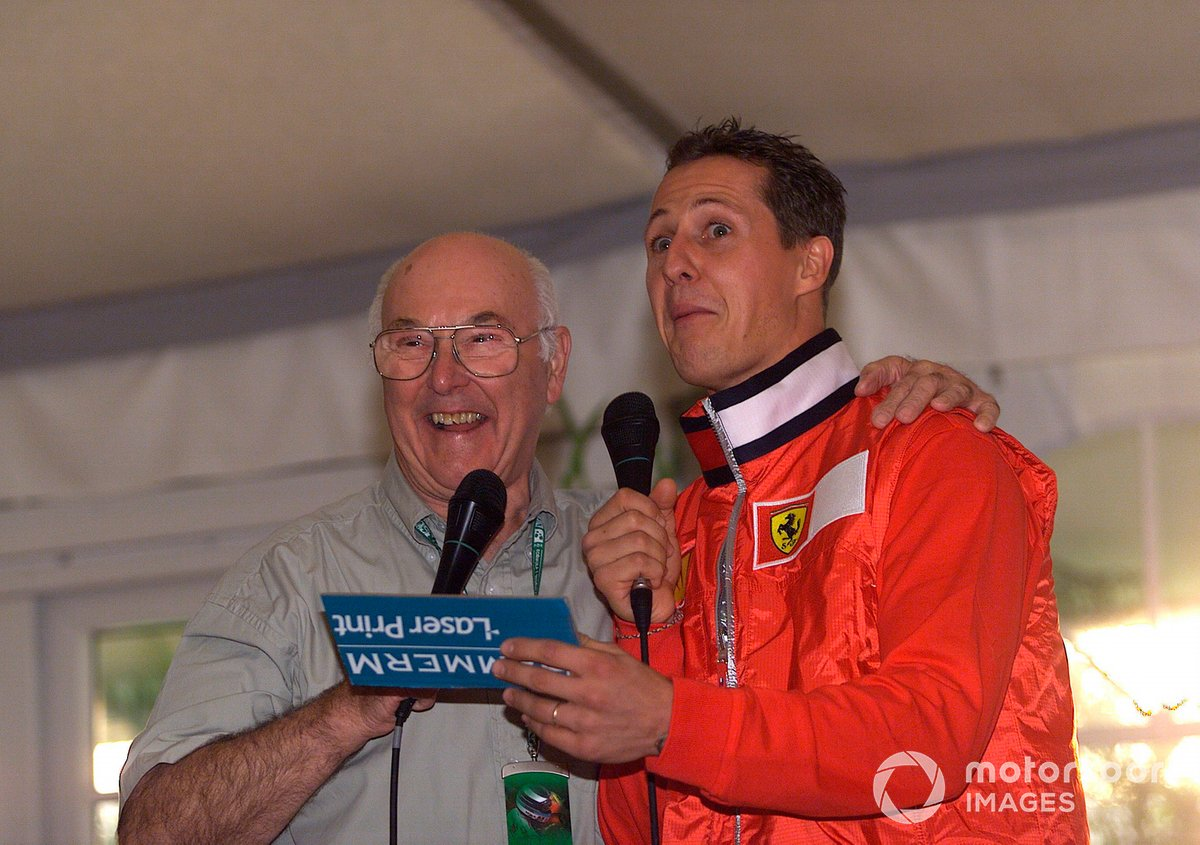 As Murray prepared to bow out of the commentary booth at the 2001 US Grand Prix, Schumacher led tributes in a special event that was attended by every notable figure in the paddock.