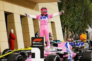 Sergio Perez, Racing Point, celebrates in Parc Ferme