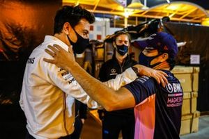 Toto Wolff, Executive Director - Business, Mercedes AMG, congratulates Sergio Perez, Racing Point, 1st position, after the race