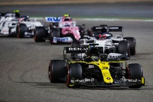 Daniel Ricciardo, Renault F1 Team R.S.20, Daniil Kvyat, AlphaTauri AT01, and Lance Stroll, Racing Point RP20
