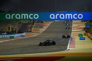 Valtteri Bottas, Mercedes F1 W11, Carlos Sainz Jr., McLaren MCL35, and Daniel Ricciardo, Renault F1 Team R.S.20