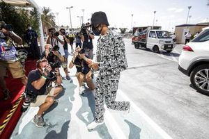 Lewis Hamilton, Mercedes-AMG F1, arrives at the circuit