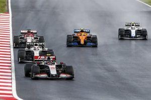 Kevin Magnussen, Haas VF-20, George Russell, Williams FW43, Kimi Raikkonen, Alfa Romeo Racing C39, Lando Norris, McLaren MCL35, and Nicholas Latifi, Williams FW43