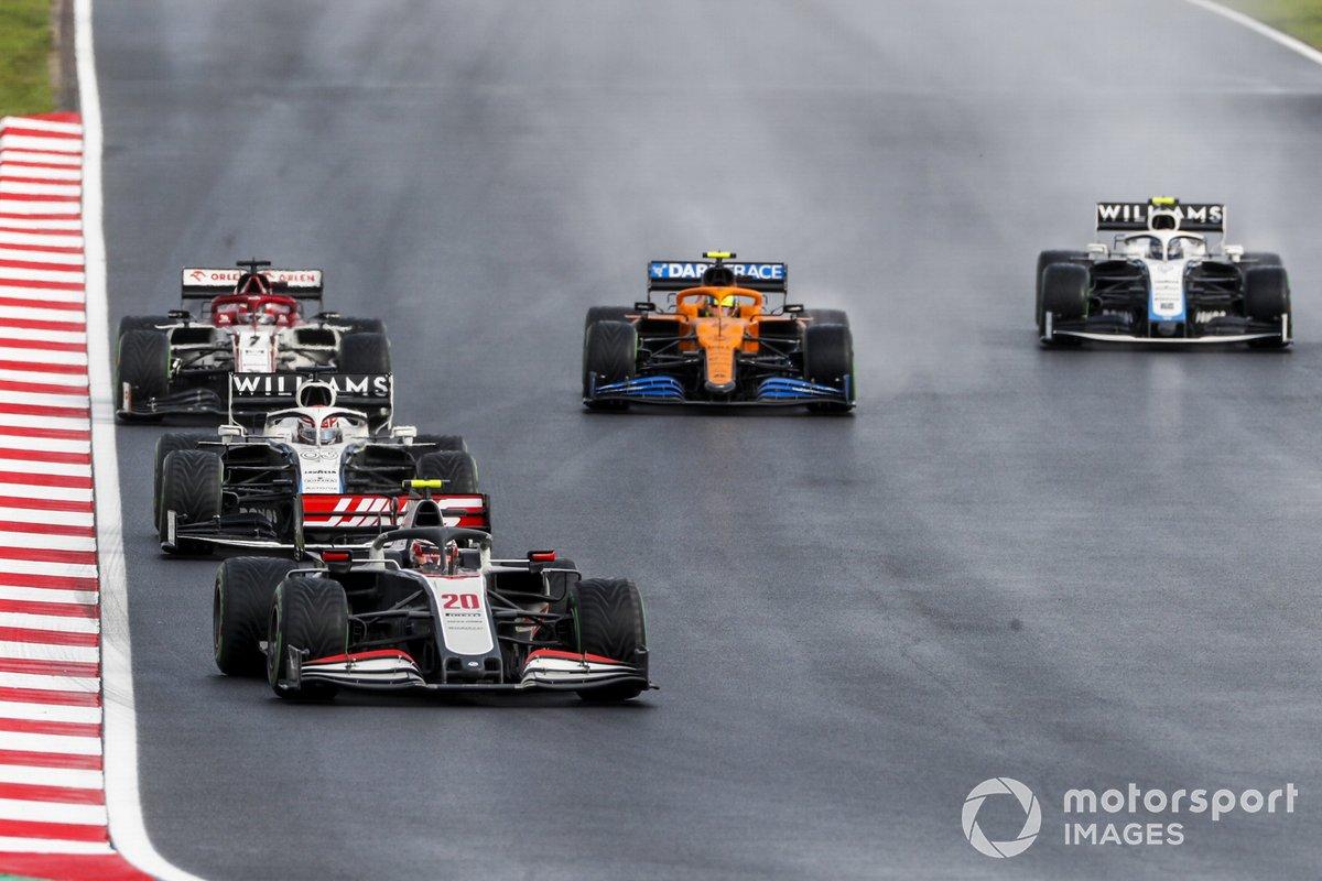 Kevin Magnussen, Haas VF-20, George Russell, Williams FW43, Kimi Raikkonen, Alfa Romeo Racing C39, Lando Norris, McLaren MCL35, Nicholas Latifi, Williams FW43