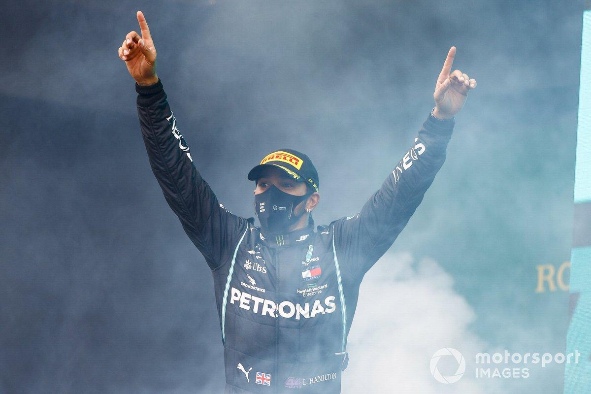 Lewis Hamilton, Mercedes-AMG F1, 1st position, arrives on the podium
