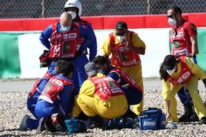 Marshals and Mediacal team at Jorge Martin, Pramac Racing after the crash