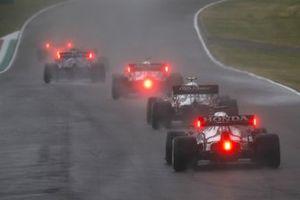Kimi Raikkonen, Alfa Romeo Racing C41, Antonio Giovinazzi, Alfa Romeo Racing C41, and Yuki Tsunoda, AlphaTauri AT02
