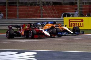 Charles Leclerc, Ferrari SF21, battles with Daniel Ricciardo, McLaren MCL35M