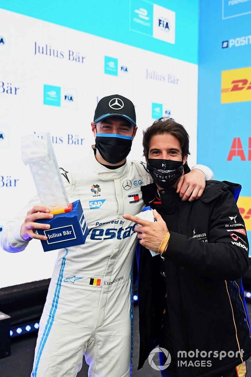 Antonio Felix Da Costa, DS Techeetah, y el poleman Stoffel Vandoorne, Mercedes-Benz EQ