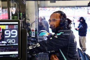 Lewis Hamilton, Mercedes, at work in th Mercedes garage