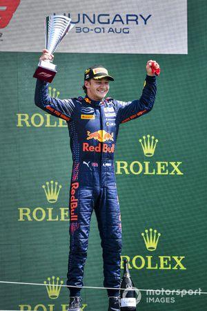Race Winner Dennis Hauger, Prema Racing celebrates on the podium