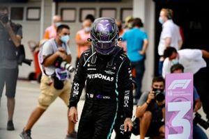 Lewis Hamilton, Mercedes, 3rd position, arrives in Parc Ferme