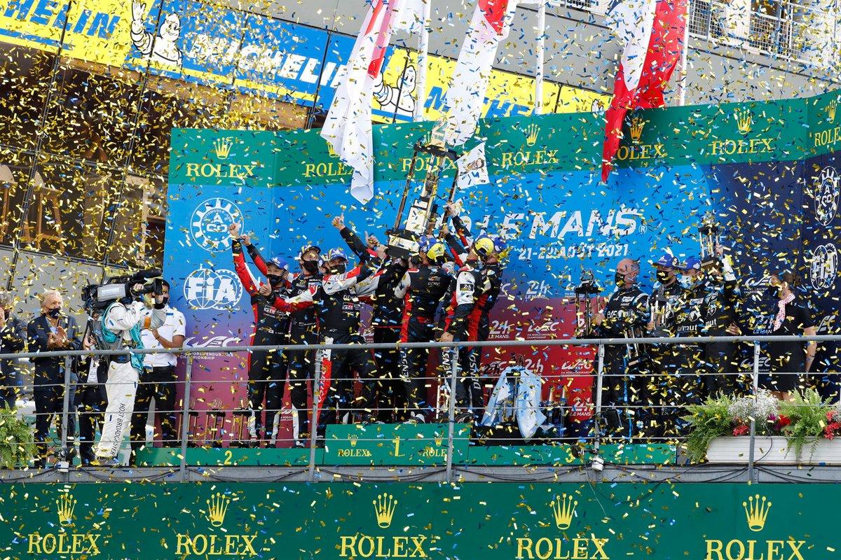 Podio: ganadores #7 Toyota Gazoo Racing Toyota GR010 - Hybrid Hypercar, Mike Conway, Kamui Kobayashi, José María López, segundo lugar #8 Toyota Gazoo Racing Toyota GR010 - Hybrid Hypercar, Sebastien Buemi, Kazuki Nakajima, Brendon Hartley, tercer lugar #36 Alpine Elf Matmut Alpine A480 - Gibson Hypercar, André Negrão, Nicolas Lapierre, Matthieu Vaxiviere