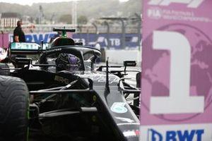 Lewis Hamilton, Mercedes W12, 1st position, arrives in Parc Ferme