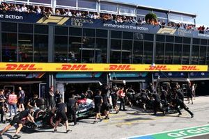 Lewis Hamilton, Mercedes W12 and Valtteri Bottas, Mercedes W12 in pit lane