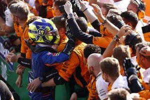 Lando Norris, McLaren, 2nd position, celebrates with his team in Parc Ferme