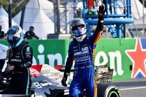 Daniel Ricciardo, McLaren, 3rd position, celebrates in Parc Ferme after Sprint Qualifying
