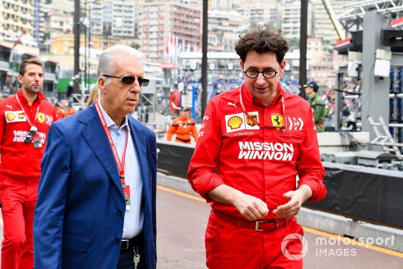 Piero Ferrari con Mattia Binotto, Team Principal, Ferrari