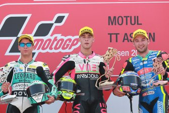 Podium: race winner Tony Arbolino, Team O, second place Lorenzo Dalla Porta, Leopard Racing, third place Jakub Kornfeil, Prustel GP