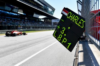Charles Leclerc, Ferrari SF90 poses his pit board