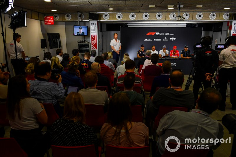 Pierre Gasly, Red Bull Racing, Valtteri Bottas, Mercedes AMG F1, Carlos Sainz Jr, McLaren, Sebastian Vettel, Ferrari y George Russell, Williams Racing en Conferencia de Prensa