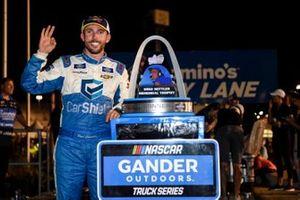 Ross Chastain, Niece Motorsports, Chevrolet Silverado TruNorth/Paul Jr. Designs, celebrates after winning.