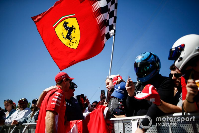 Sebastian Vettel, Ferrari SF90 takes a selfie with a fan