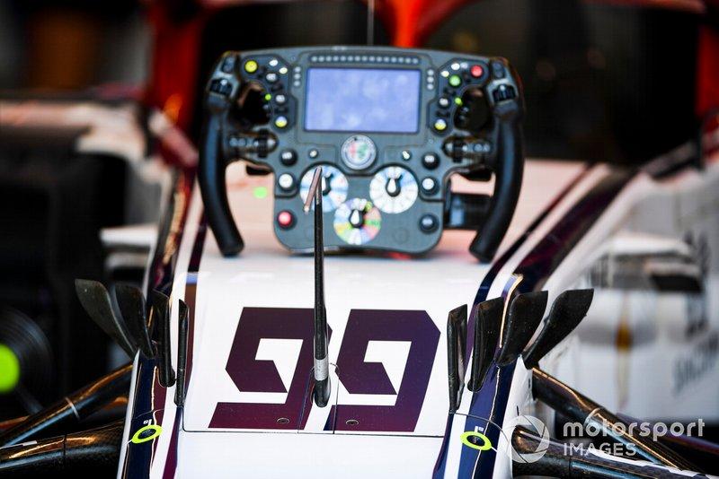 The steering wheel from the car of Antonio Giovinazzi, Alfa Romeo Racing C38