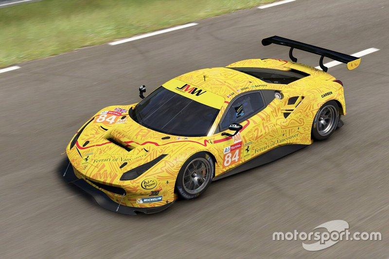 Автомобиль Ferrari 488 GTE команды JMW Motorsport: Джеффри Сигал, Родриго Батиста, Лю Вэй