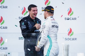 The Constructors trophy recipient with Valtteri Bottas, Mercedes AMG F1, 1st position, on the podium