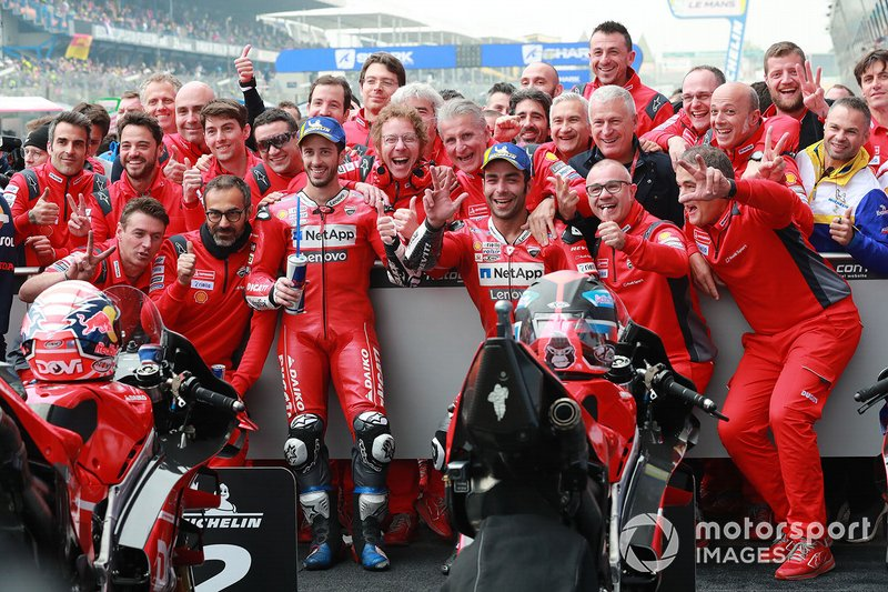 Second place Andrea Dovizioso, Ducati Team, third place Danilo Petrucci, Ducati Team