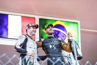 Jean-Eric Vergne, DS TECHEETAH celebrates victory on the podium with Oliver Rowland, Nissan e.Dams, 2nd position