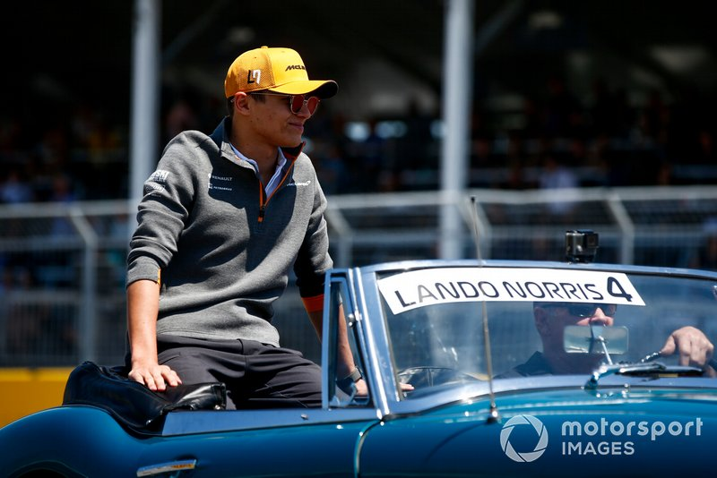 Lando Norris, McLaren, in the drivers parade